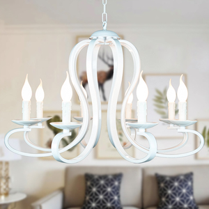 Image 4 - Modern candle Chandelier lighting Nordic American coutry style Fixtures Vintage white/black wrought Iron Home Lighting E14
