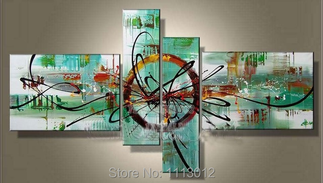 Hand-painted Modern Line Green Letter Knife City Oil Painting On Canvas 4 Panel Arts Sets Home Wall Decor For Living Room Sale