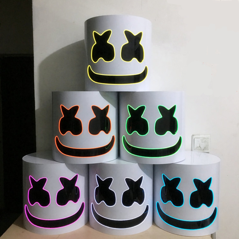 PVC DJ Marshmello EL Fil LED Casque Masque Cosplay Accessoire Halloween Masque Plein Visage Cosplay Accessoire Halloween Fête Bar Masques