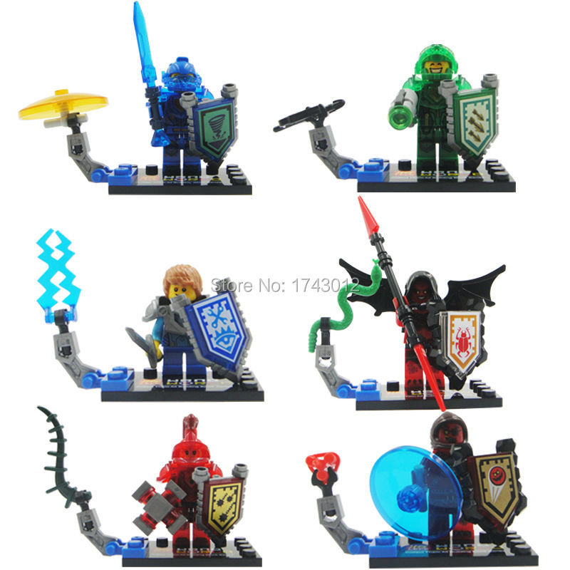 6pcs/set 79234 Nexo Knights Future Knight Castle Warrior Building Block Bricks Kid Toy Gift gift action figure toys for children
