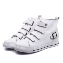 2016 New Fashion Womens Within The Higher Leather Shoes Elevators White Black High Top Casual Woman Shoes