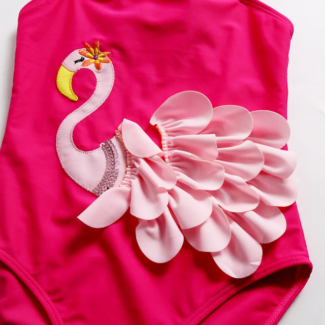 Girl's One Piece Swimsuit with Ruffles