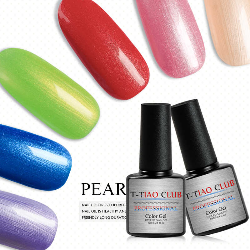 T-TIAO Club 7 Ml Chameleon Shell Kuku Gel Polandia Shimmer Pearl Glitter Rendam Off Uv Gel Pernis Kuku Seni Manikur lacquer