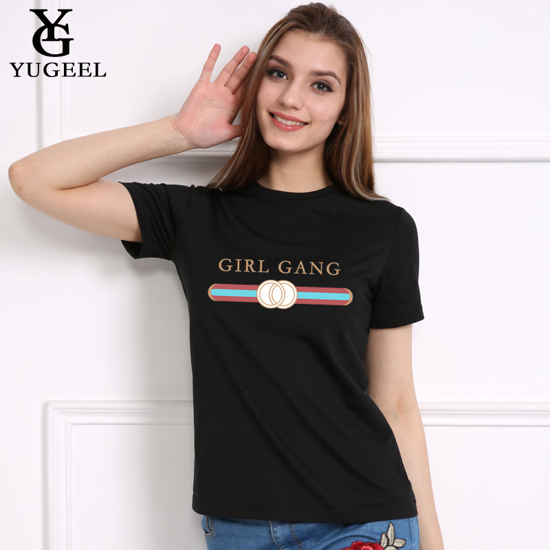 fe6d4ce07faf GIRL GANG Letter Print Tshirt 2018 Casual White T shirt Female Tops  harajuku Women T shirt Short SLeeve O neck Tee Shirt Femme-in T-Shirts from  Women s ...