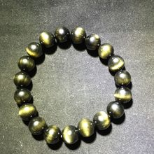5A Good Quality Cat Eyes Natural Gold Obsidian Round Beads 10 mm bracelet stone