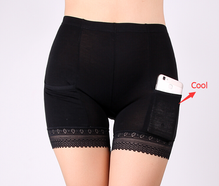 Free Shipping With Pocket Safety pants Female Summer Lace No curling Base insurance pants Ladies   panties   Size M L XL #8136R3