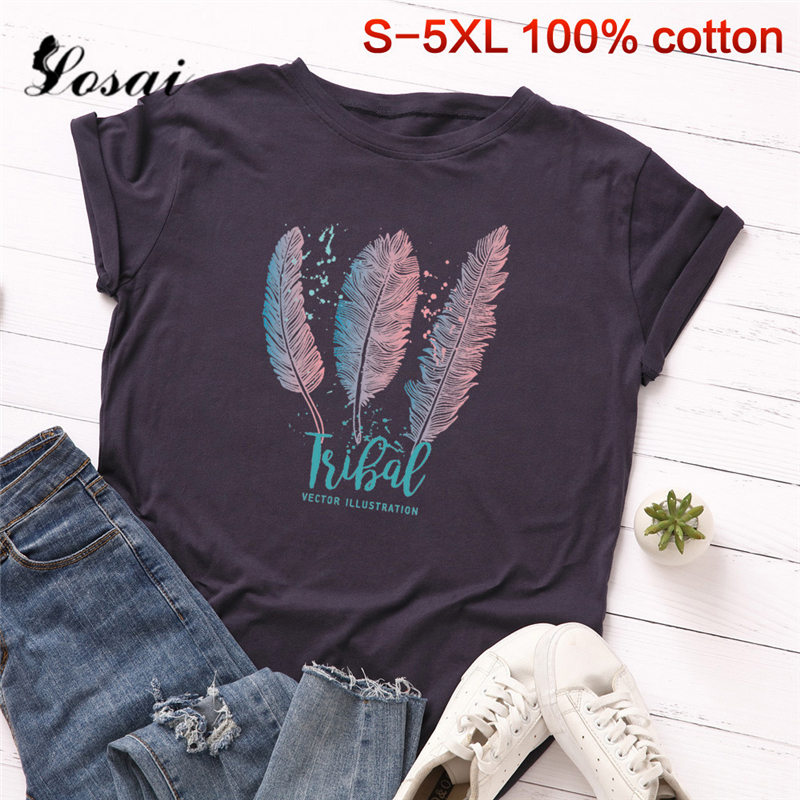 Women   T     Shirts   3XL 4XL 5XL Plus Size Cotton   T  -  shirt   Feathers Pattern Print Short Sleeve Tops Korean Tshirt Harajuku Tee   Shirts