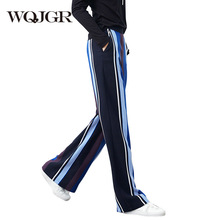 WQJGR 2018 Spring Striped Wide Leg Pants Woman Leisure Time Pantalon Femme