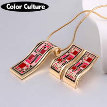 2017 New Arrival Dubai Gold Jewelry Sets Geometry Vintage for Women Elegant Classic Enamel Jewelry (Necklace, Earring)