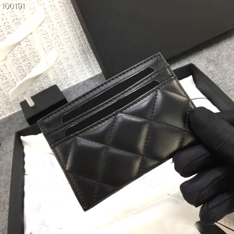 Women Lambskin Card Holder Luxury Real Leather Designer Top Quality Female Mini Short Caviar Brand Credit Card Case