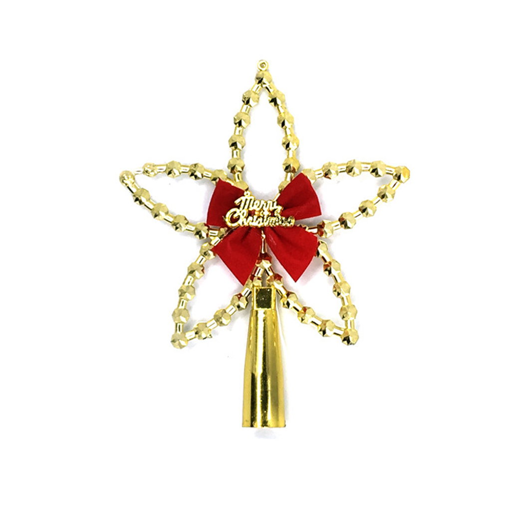 decoracin del rbol de navidad estrella superior con decoracin de pajarita de oroplata para