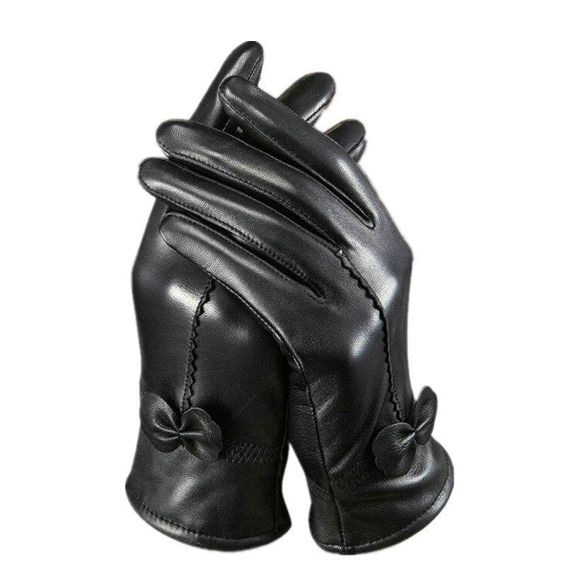 Lockbox Top Quality Genuine Leather Gloves Women Plush Warm Winter Gloves Female Mittens Sheepskin Tactical Glove 20 Color AW58