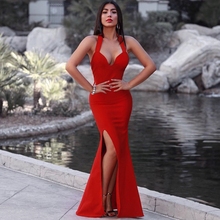 INDRESSME Elegant Halter Sexy Deep V Backless Floor Length Mermaid Autumn Women Lady Bandage Party Dress 2017 New Arrival