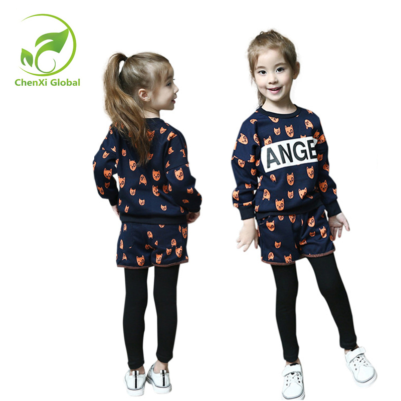 Autumn Winter Girls Children Sets Clothing Long Sleeve O-neck Pullover Cartoon Dog Sweater+ short Pant Suit Sets for Cute Girls