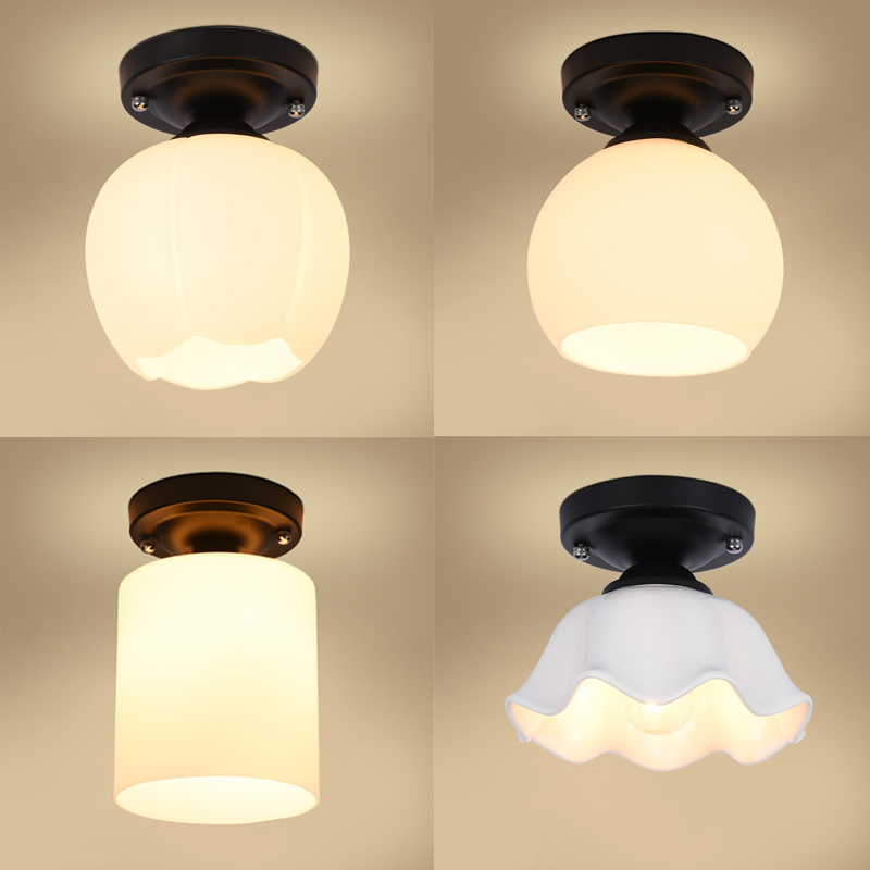 Brief style bedroom bedside ceiling lamp Black Round Base with E27 socket corridor balcony Glass Ceiling