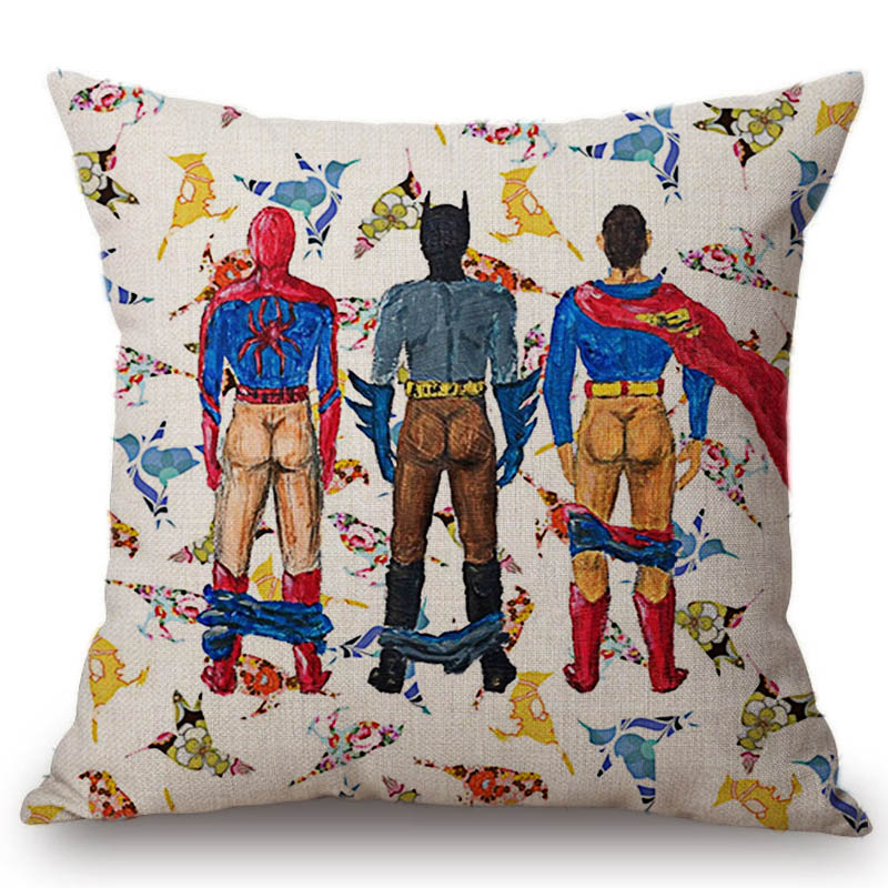 Funny Super Hero Superman Hulk Butts Cushion Hulk Cat Girl Batman Butts Ass Comic Cotton Linen Sofa Pillow Car Seat Throw Pilow
