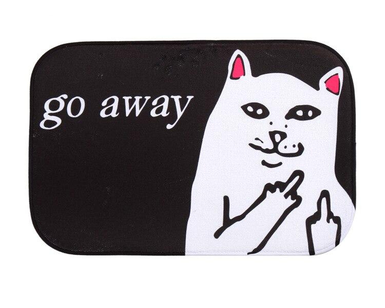 40*60cm Cat With Middle Finger Humorous Funny Saying Words Go Away Entrance Indoor Coral Fleece Non-slip Floor Mat Doormat