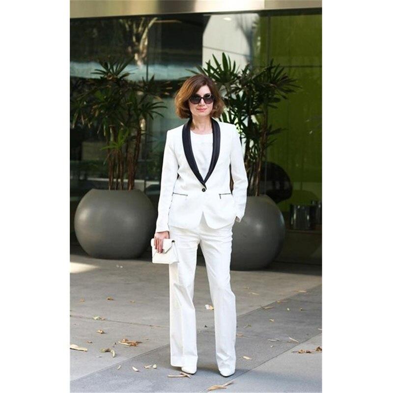 Elegancki biały formalne jednolite style garnitury biurowe z