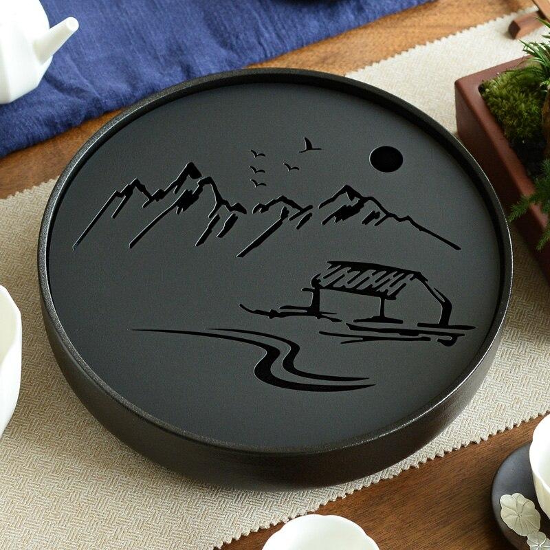 Керамический металлический чайный поднос для хранения воды кунг-фу чайный набор комнатный стол черный/белый китайский чайная чашка церемо...