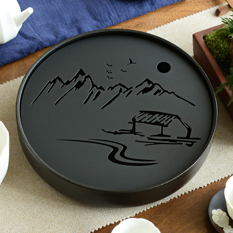 Ceramic Metal Tea Tray Drainage Water Storage Kung Fu Tea Set Room Board Table Black/White Chinese Tea Cup Ceremony Tools
