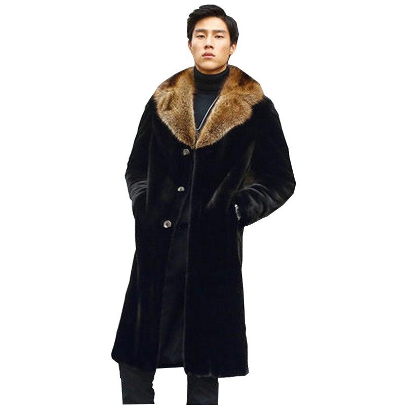 Renard Col Noir Plus 4xl Vison Hommes S 5xl Taille Homme Long Faux Survêtement Imitation Manteaux Moyen La 2017 Fourrure De Hiver 9IDeYWH2E