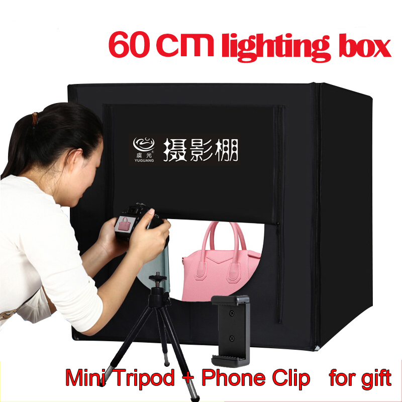 Yuguang Free Shipping Photography Equipment Folding Mini LED Light Box 60cm Softbox for Photo Studio Accessories coogens led softbox 60x60cm professional photography light box studier set background cloth equipment