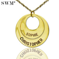 Costume Jewelery Gold Color Kolye Engraved Name Necklace Female Double Circles Necklaces Collares Pendant Chain Gift to Mom