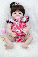 55 см полный силиконовые Bebe Кукла реборн 22 дюймов принцессы для новорожденных девочек для малышей прекрасный подарок на день рождения Водон
