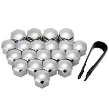 New Arrival 20pcs/set Silver 17mm Wheel Nut Bolt Cover Cap+Removal Tool For Ford Peugeot Citroen
