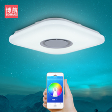 купить Modern intelligent LED ceiling lamp RGB dimmable APP remote control Bluetooth speaker living room bedroom 90-260v ceiling light по цене 3810.83 рублей