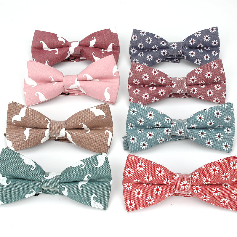 New Style Men's Mustache Print Vintage Fashion Bowtie For Man Casual Flower Neck Bow Ties Wedding Accessories Gravatas Butterfly