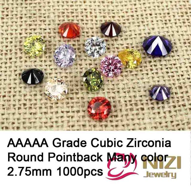 AAAAA Grau Cortes Brilhantes Cubic Zirconia Beads Para Fazer Jóias 2.75mm 1000 pcs Rodada Pointback Pedras de Zircônia Cúbica 13 cor