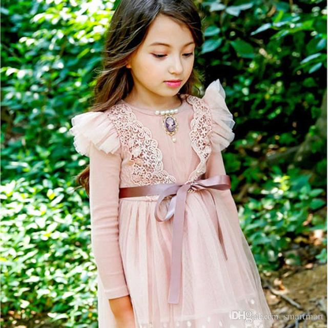 Sweet Baby Girls Fall Fly Sleeve Lace Dress Princess Ruffles Party Dress Blue and Pink Color Christmas Dress