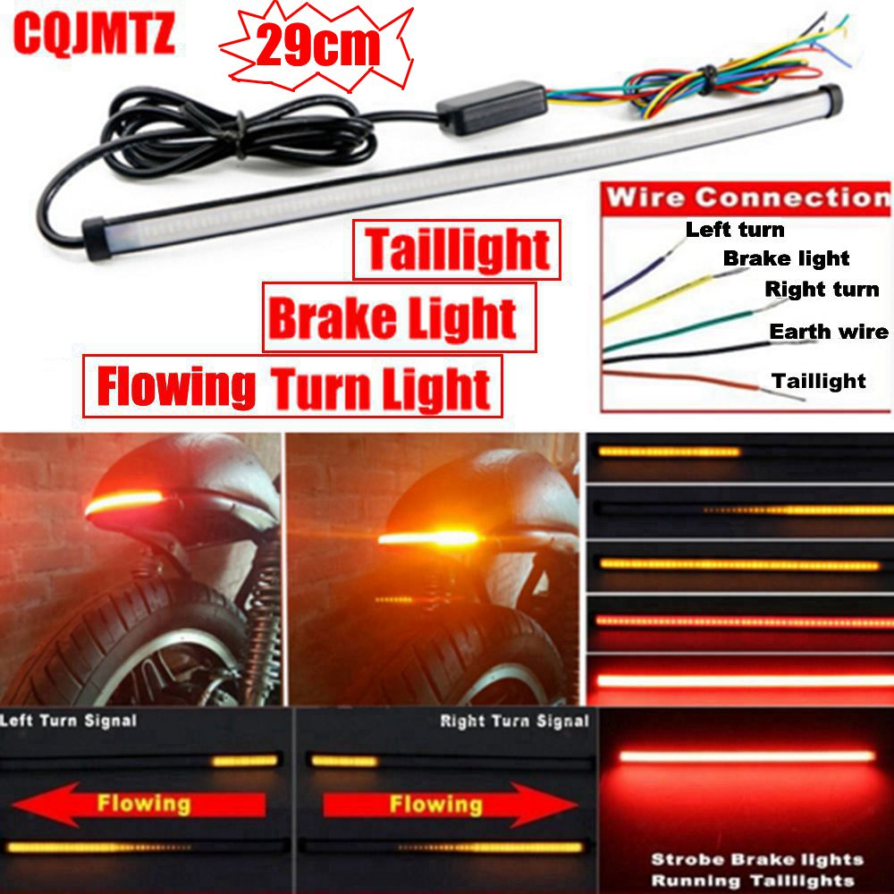 290mm Motorcycle Sequential Running Brake Tail Light Turn Signal Integrated LED Stop Light Strip free shipping 47 120mm running brake reverse signal led tailgate tail light bar strip truck suv