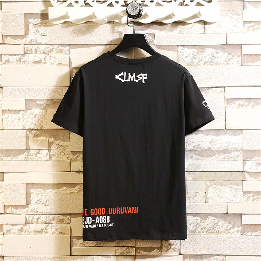 2019 Summer New Round Neck Large Size Short Sleeve Tshirts Men Fashion Casual Slim Trend Creative Letter Printing Mens T shirt 4