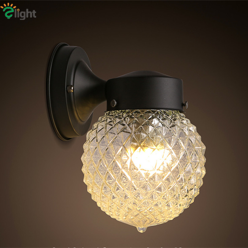 ФОТО American Vintage Iron Foyer E27 Led Wall Lamp Creative Pineapple Glass Bedroom Led Wall Light Simple Corridor Wall Lighting