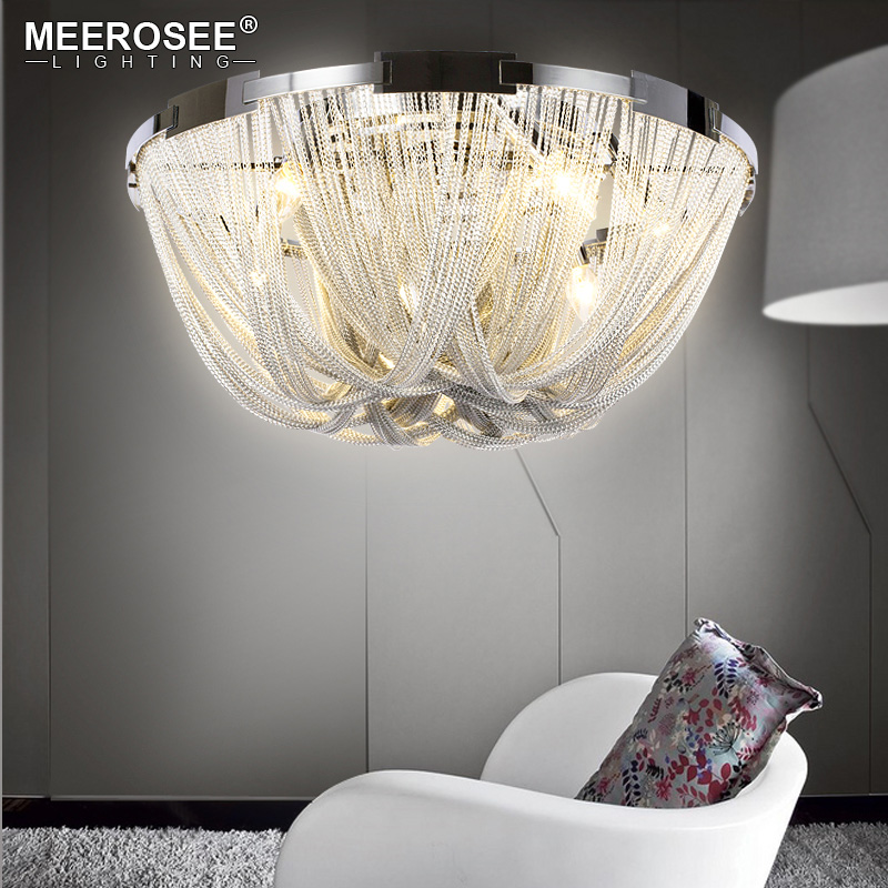 French Empire Chain Chandelier Light Fixture Flush Mounted Lamp Chain Light for Living room Hotel Project Aluminum Chain Lamp