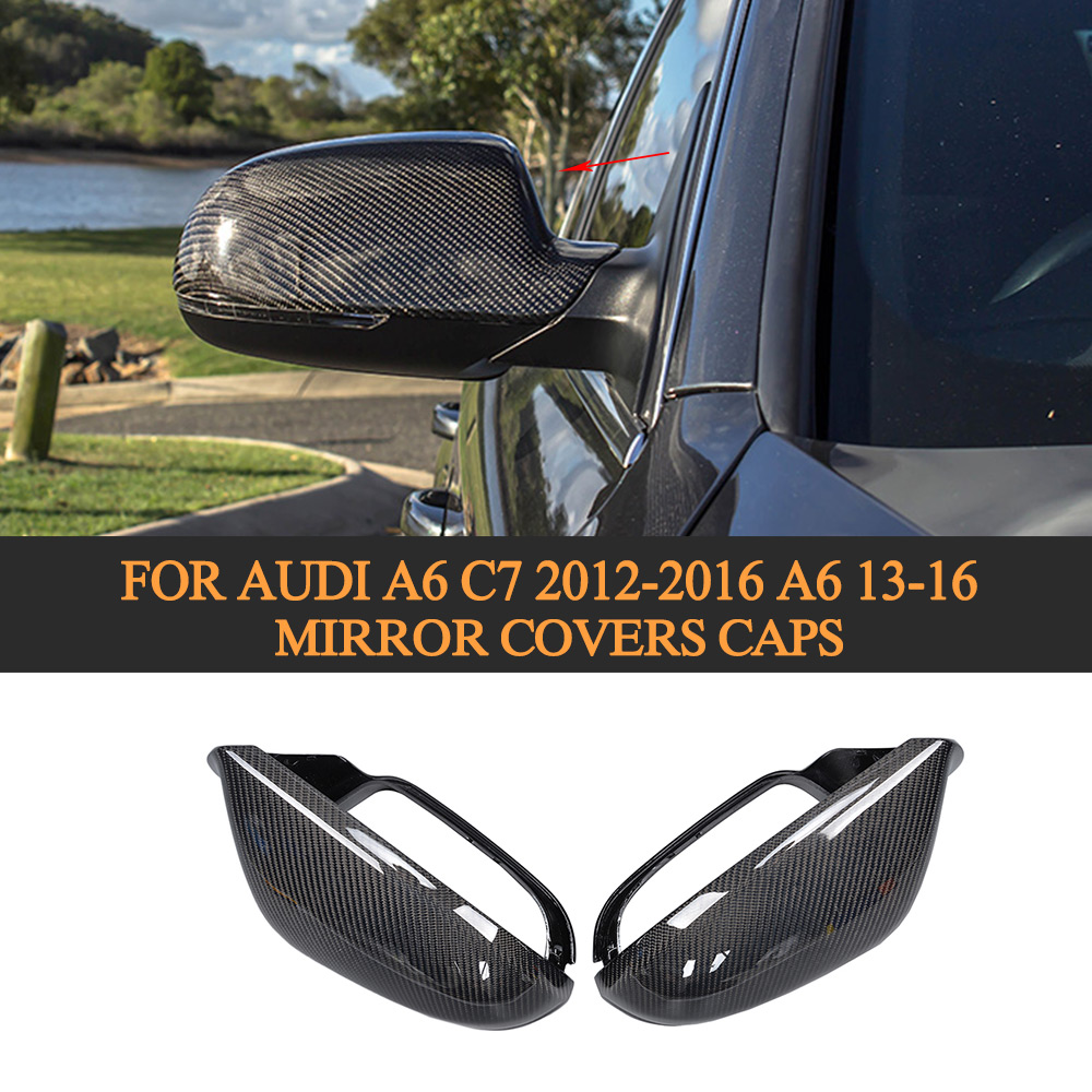Carbon fiber Replacement side rear back view mirror covers Caps for Audi A6 C7 2012 2013 2014 2015 2016 A6 13-16 kibowear 2017 for audi new tt side mirror covers caps matte chrome brushed silver replacement 2015 2016