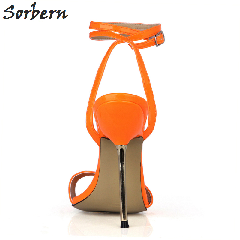 Sorbern Orange Shiny Summer Women Sandals Gold High Heels Shoes Ladies Trendy Women Shoes 2018 Summer Shoes Stilettos - 2