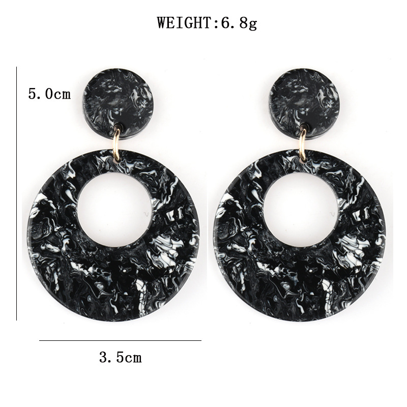 HOCOLE New Geometric Dangle Earrings For Women Vintage Resin Acrylic Drop Earring Big Brincos Statement Female Korean Jewelry in Drop Earrings from Jewelry Accessories
