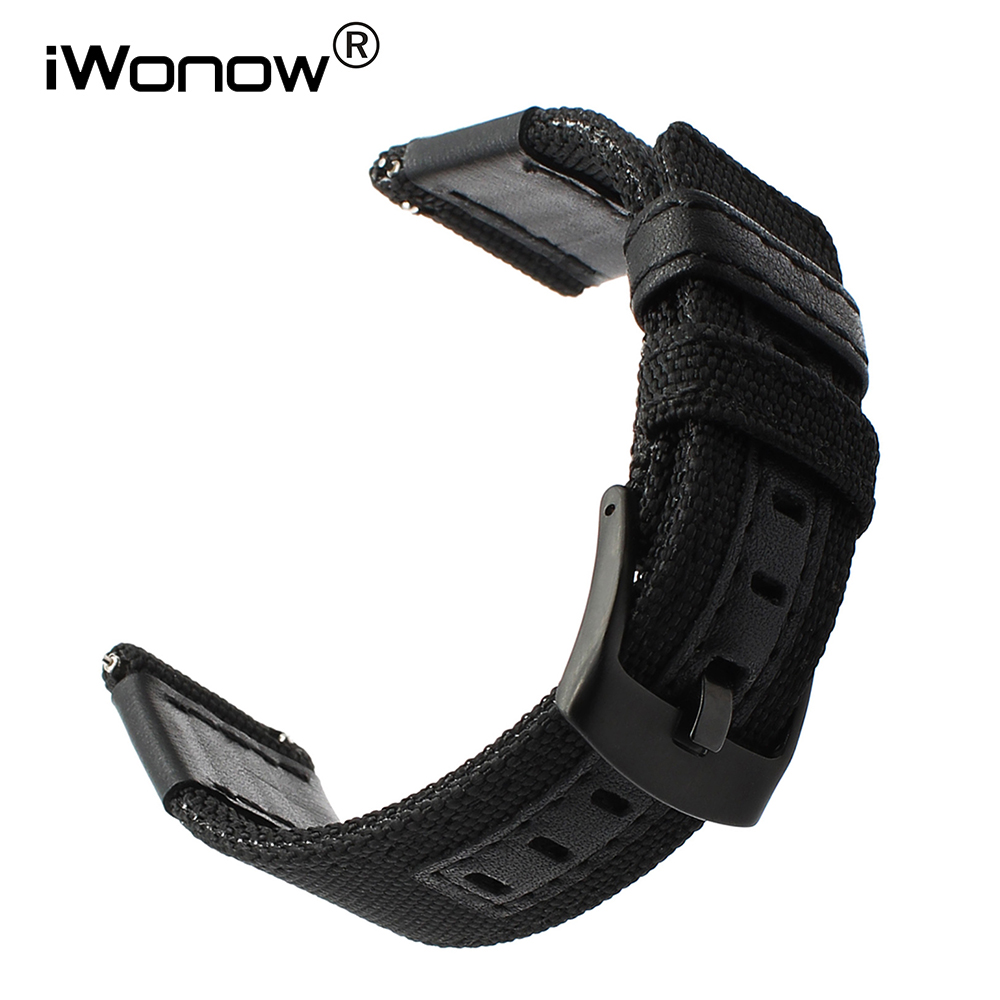 Canvas Nylon + Genuine Leather Watchband 22mm 24mm Universal Watch Band Quick Release Strap Stainless Steel Clasp Wrist Bracelet canvas nylon watchband tool for garmin fenix 5 forerunner 935 fr935 leather watch band sports strap steel buckle bracelet