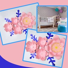 Handmade Pink Rose DIY Paper Flowers Blue Leaves Set For Party Wedding Backdrops Decorations Nursery Wall Deco Video Tutorials