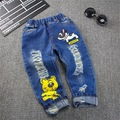 2-7T Children Pants boys hole jeans Spring Baby Girl Cartoon tiger Jeans Trousers Fashion Children Clothing Jeans Kids dog Jeans