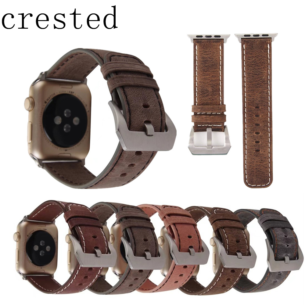 CRESTED Genuine Leather watch band for apple watch iwatch series 3/2/1 42mm/38mm replacement bracelet wrist watchband