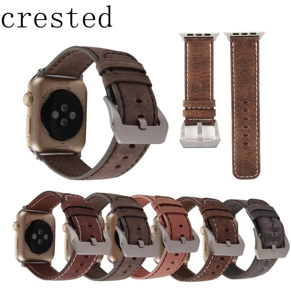 24ae7fa2cdc CRISTA Genuíno relógio de Couro faixa de relógio para apple iwatch série  3 2 1 42mm 38mm substituição pulseira de pulso pulseira