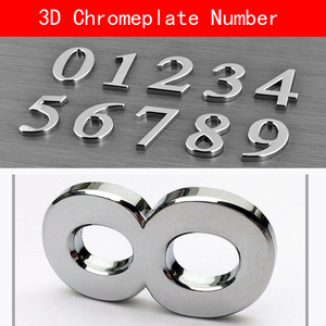 1PCS 0-9 ABS sliver chromeplate House Numbers 70*48*8mm Hotel Home Door 3D Number Digits Sticker Plate Signs Address DIY