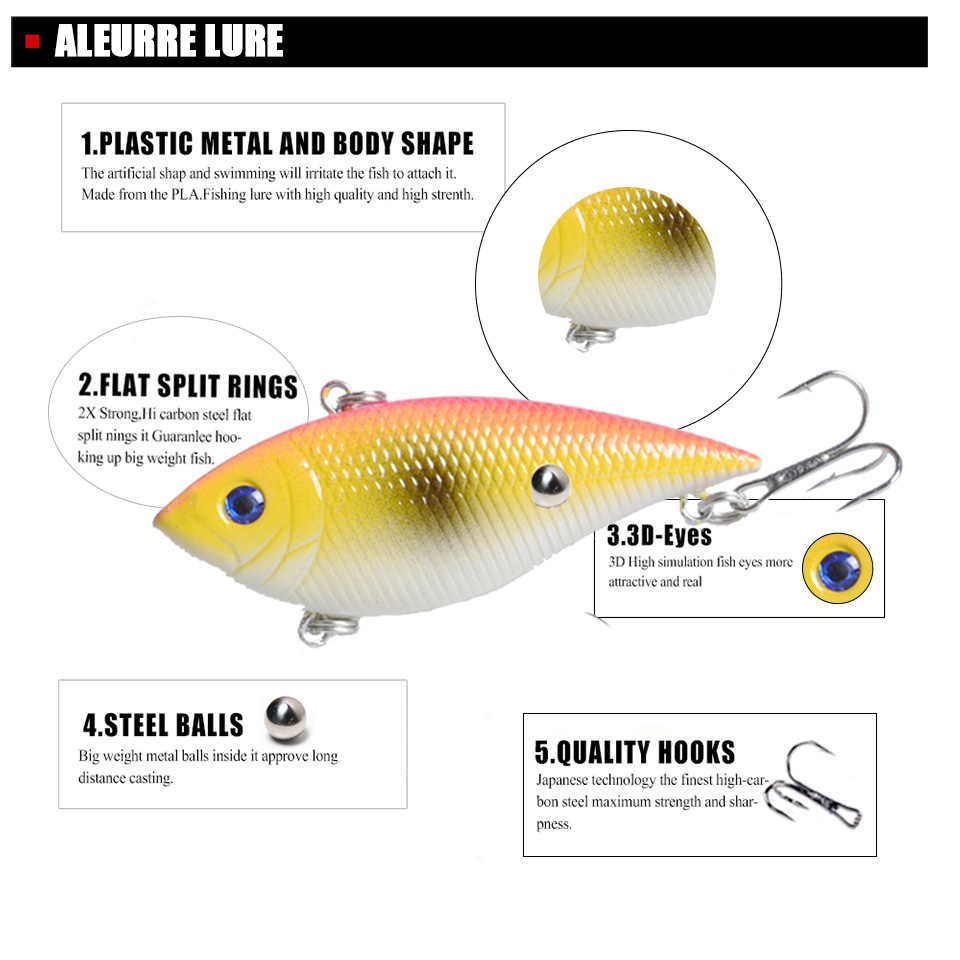 Image 3 - 7cm 11.5g Rattlin VIB Fishing Lure Hard Pesca Wobbler Crankbait Sinking Isca Artificial Fishing Bait Pike Leurre Winter Baits-in Fishing Lures from Sports & Entertainment