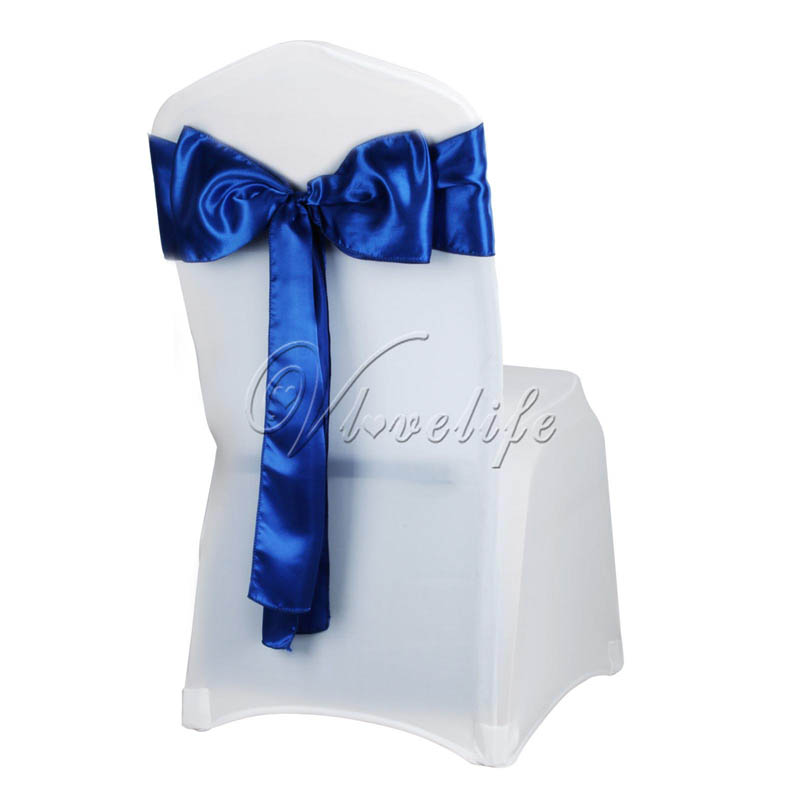 "25Pcs/Lot Satin Chair Sash Bow 6"" X 108"" For Banquet Wedding Party Banquet Bow Ties Butterfly Craft Chair Cover Decoration"