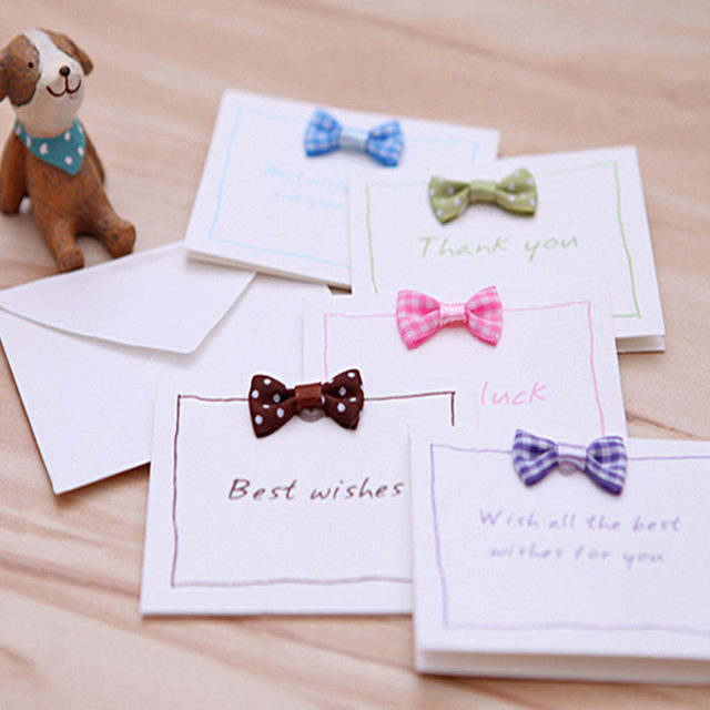 Online Shop 50pcs Lot Kawaii Bow Greeting Cards Goodluck Best Wishes