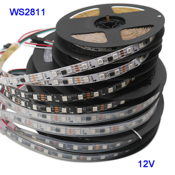 5m 30 48 60leds m 5050 smd rgb ws2811 smart pixel led strip addressable ws2811ic black white pcb DC12V 1m/3m/5m 30/48/60leds/m 5050 SMD RGB WS2811 Smart Pixel Led Strip Addressable WS2811IC Black/White PCB